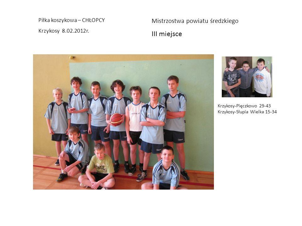 III miejsce Mistrzostwa powiatu średzkiego Piłka koszykowa – CHŁOPCY