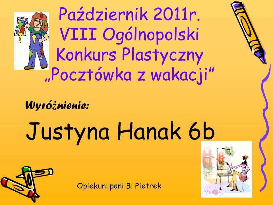 """Październik 2011r. VIII Ogólnopolski Konkurs Plastyczny """"Pocztówka z wakacji"""
