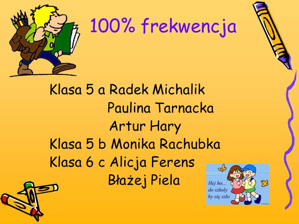 100% frekwencja Klasa 5 a Radek Michalik Paulina Tarnacka Artur Hary