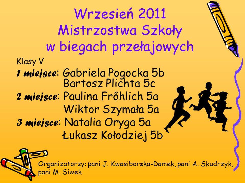 Wrzesień 2011 Mistrzostwa Szkoły w biegach przełajowych