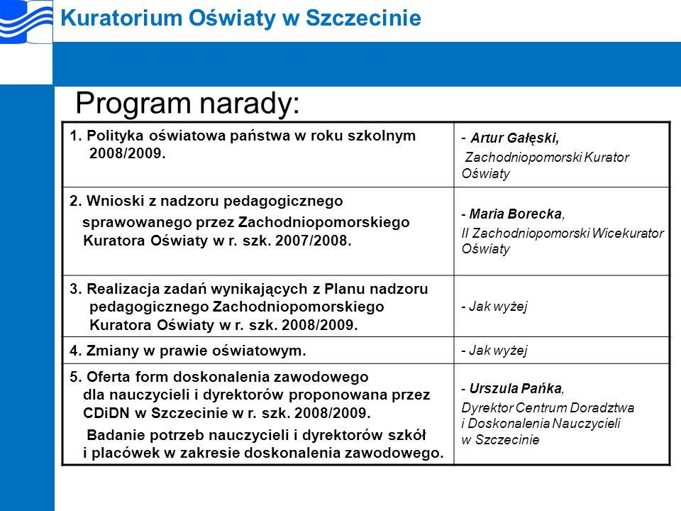 Program narady: Kuratorium Oświaty w Szczecinie