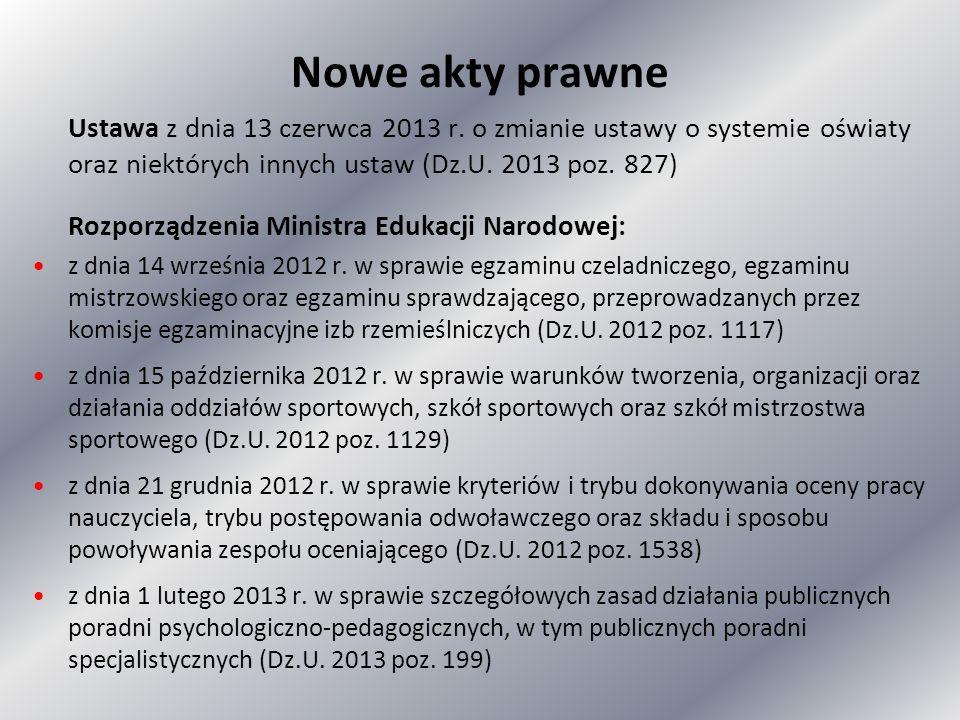 Nowe akty prawne Ustawa z dnia 13 czerwca 2013 r. o zmianie ustawy o systemie oświaty oraz niektórych innych ustaw (Dz.U. 2013 poz. 827)