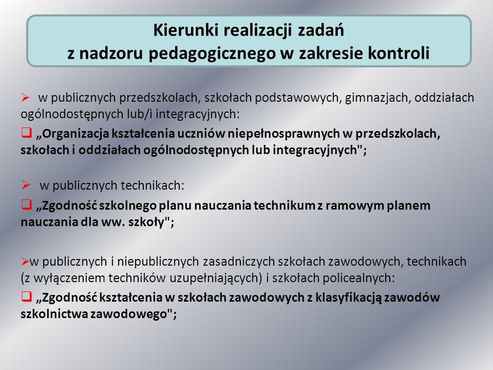 Kierunki realizacji zadań z nadzoru pedagogicznego w zakresie kontroli