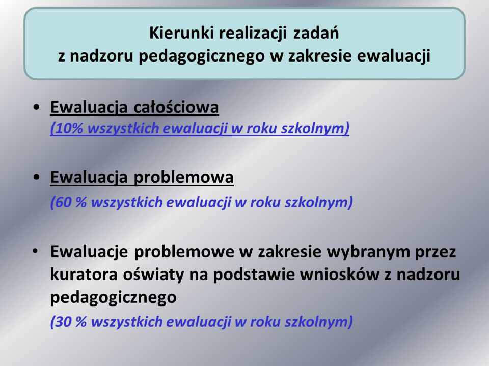 Ewaluacja całościowa (10% wszystkich ewaluacji w roku szkolnym)