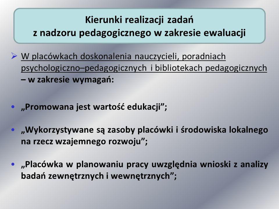 Kierunki realizacji zadań z nadzoru pedagogicznego w zakresie ewaluacji
