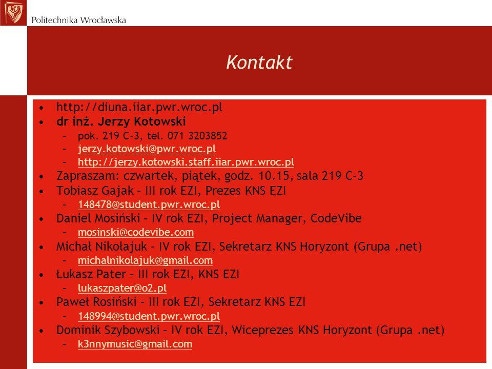 Kontakt http://diuna.iiar.pwr.wroc.pl dr inż. Jerzy Kotowski