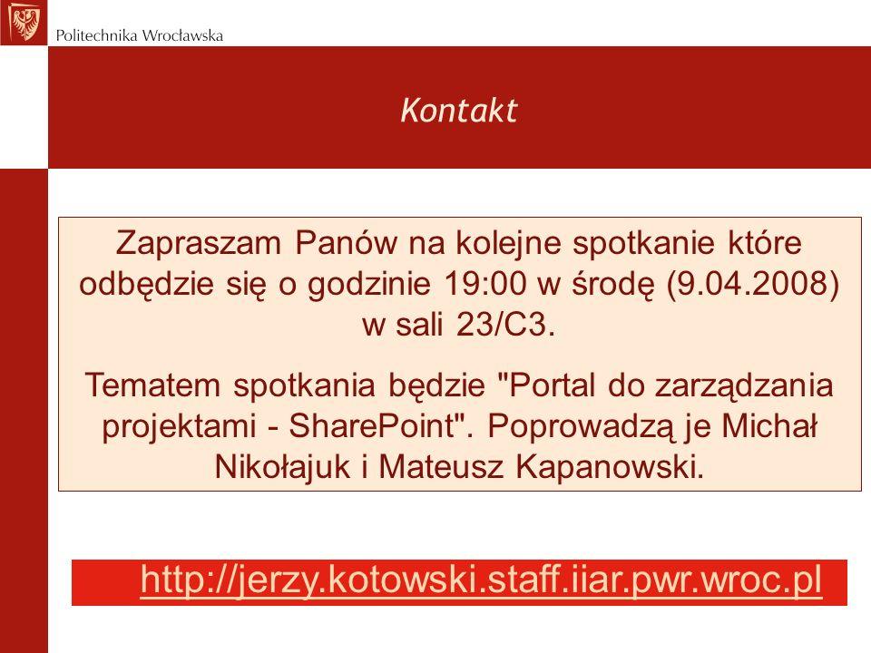 http://jerzy.kotowski.staff.iiar.pwr.wroc.pl Kontakt