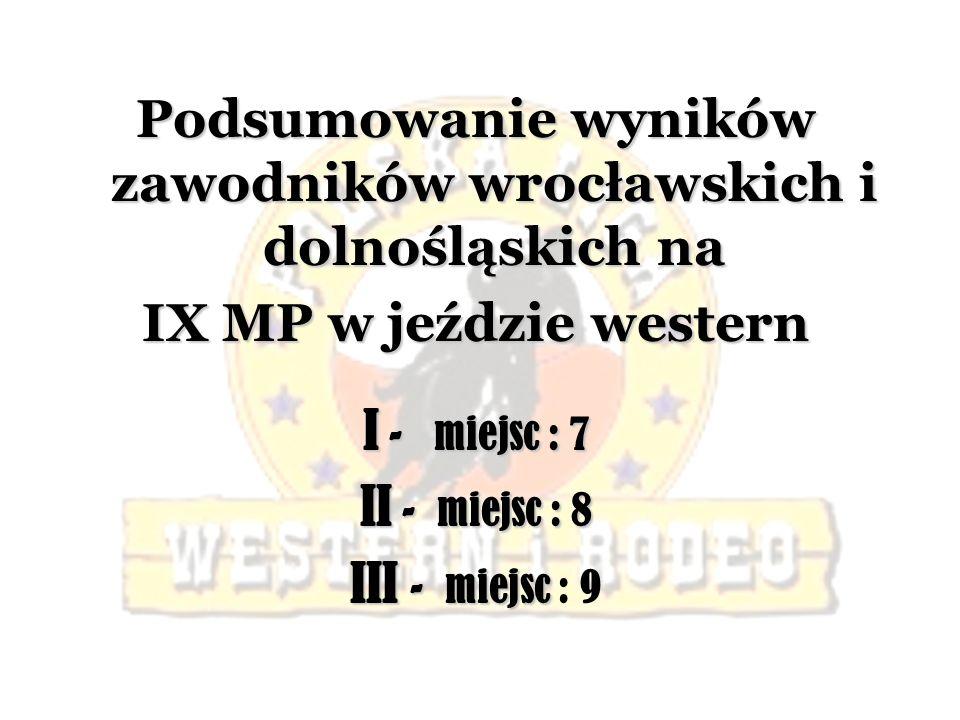 Podsumowanie wyników zawodników wrocławskich i dolnośląskich na IX MP w jeździe western I - miejsc : 7 II - miejsc : 8 III - miejsc : 9