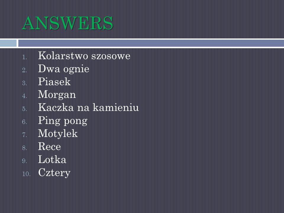 ANSWERS Kolarstwo szosowe Dwa ognie Piasek Morgan Kaczka na kamieniu