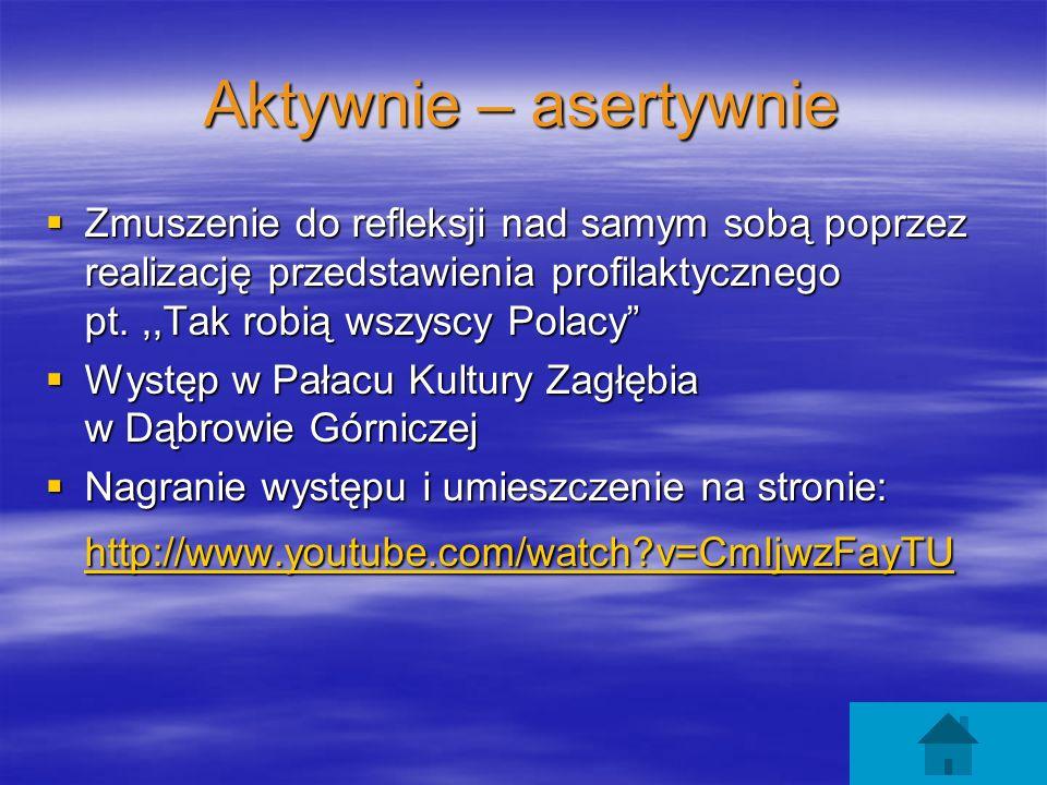 Aktywnie – asertywnie Zmuszenie do refleksji nad samym sobą poprzez realizację przedstawienia profilaktycznego pt. ,,Tak robią wszyscy Polacy