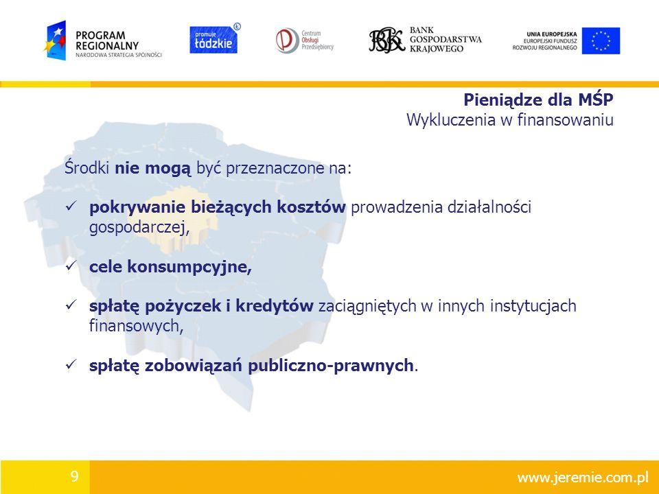 Pieniądze dla MŚP Wykluczenia w finansowaniu