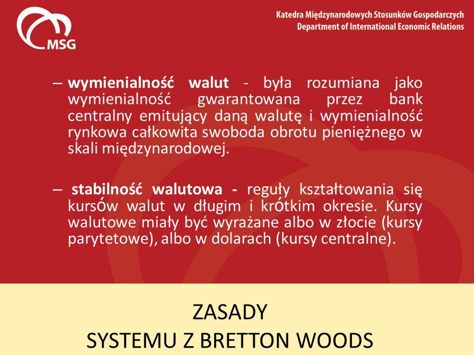 ZASADY SYSTEMU Z BRETTON WOODS