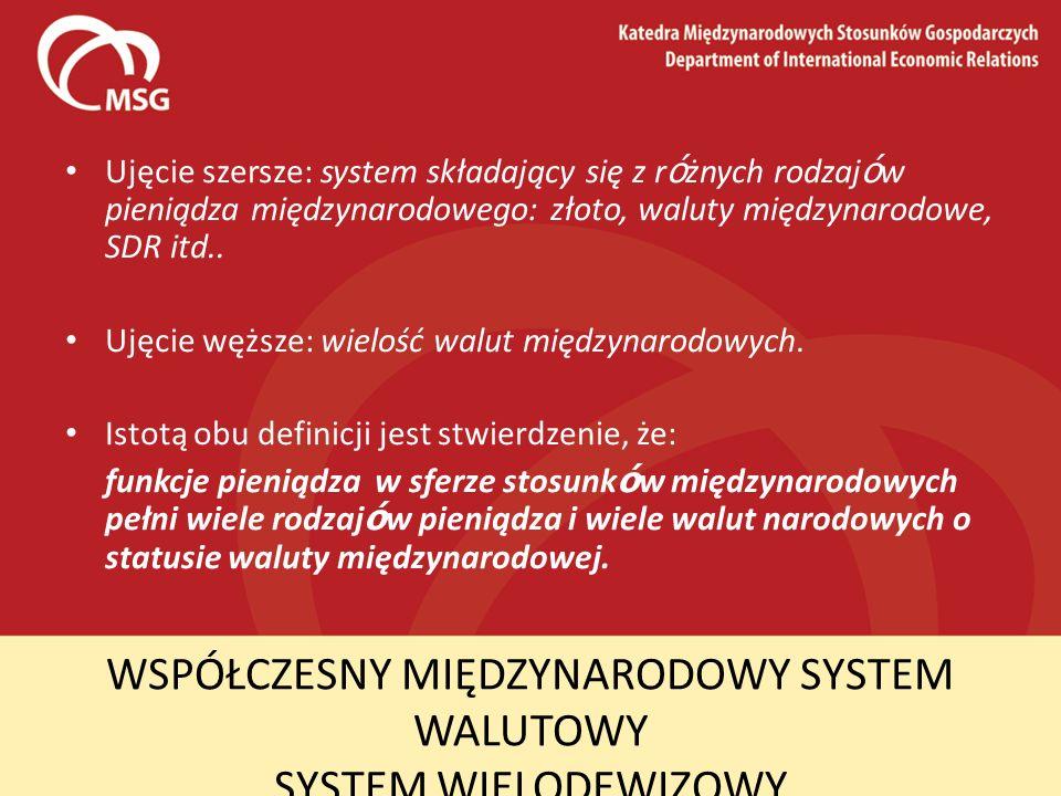 WSPÓŁCZESNY MIĘDZYNARODOWY SYSTEM WALUTOWY SYSTEM WIELODEWIZOWY