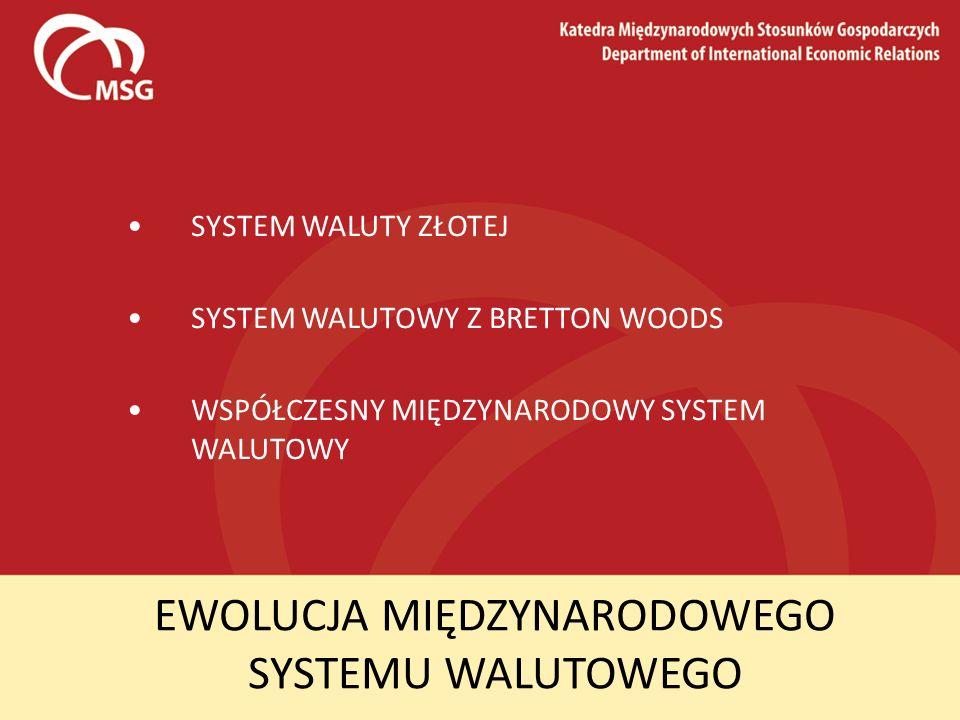 EWOLUCJA MIĘDZYNARODOWEGO SYSTEMU WALUTOWEGO