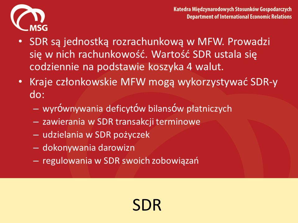 SDR są jednostką rozrachunkową w MFW. Prowadzi się w nich rachunkowość