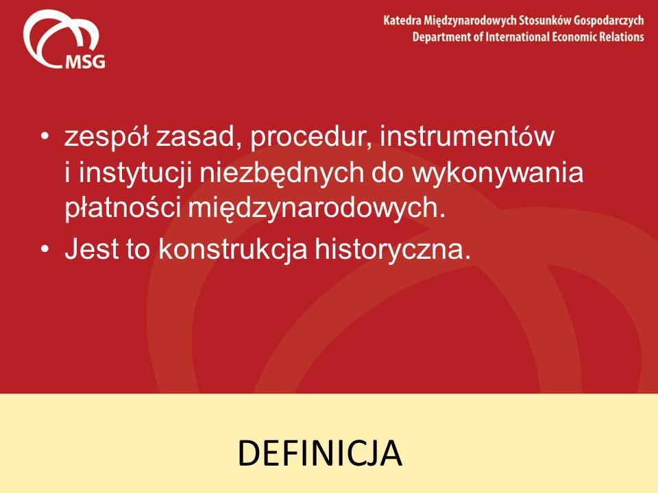 zespół zasad, procedur, instrumentów i instytucji niezbędnych do wykonywania płatności międzynarodowych.