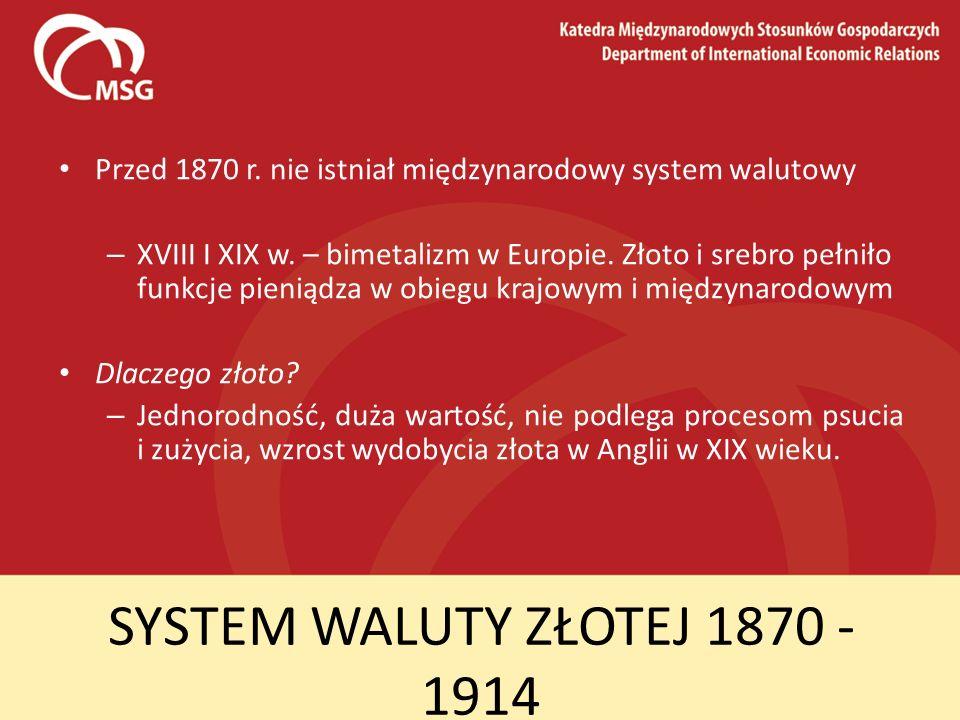 Przed 1870 r. nie istniał międzynarodowy system walutowy