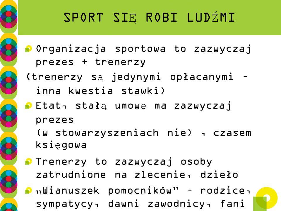 SPORT SIĘ ROBI LUDŹMI Organizacja sportowa to zazwyczaj prezes + trenerzy. (trenerzy są jedynymi opłacanymi – inna kwestia stawki)