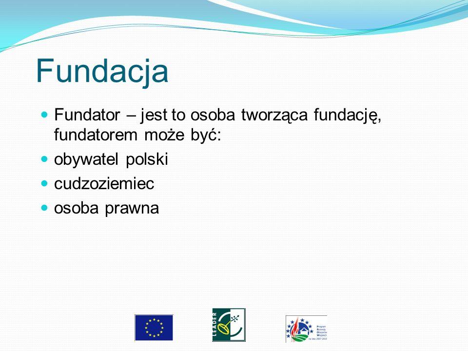 Fundacja Fundator – jest to osoba tworząca fundację, fundatorem może być: obywatel polski. cudzoziemiec.