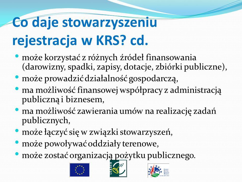 Co daje stowarzyszeniu rejestracja w KRS cd.