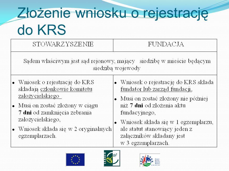 Złożenie wniosku o rejestrację do KRS