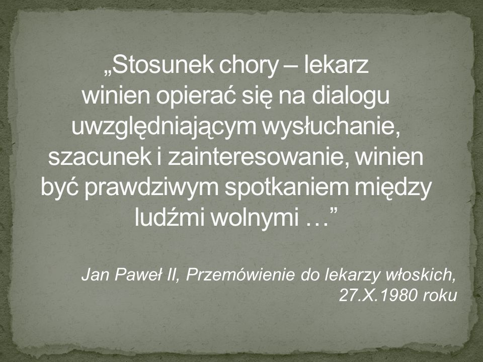 Jan Paweł II, Przemówienie do lekarzy włoskich, 27.X.1980 roku