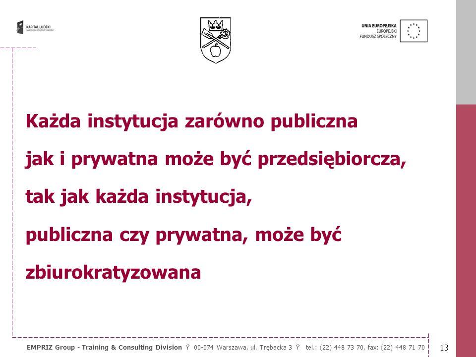Każda instytucja zarówno publiczna jak i prywatna może być przedsiębiorcza, tak jak każda instytucja, publiczna czy prywatna, może być zbiurokratyzowana