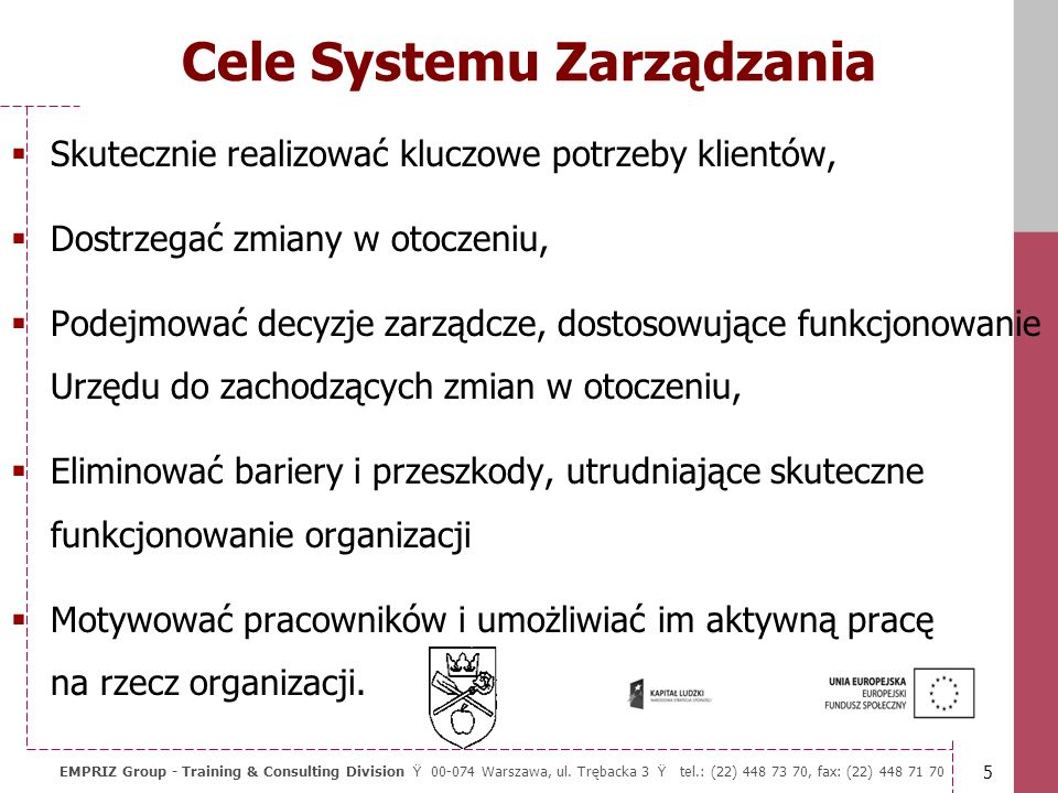 Cele Systemu Zarządzania
