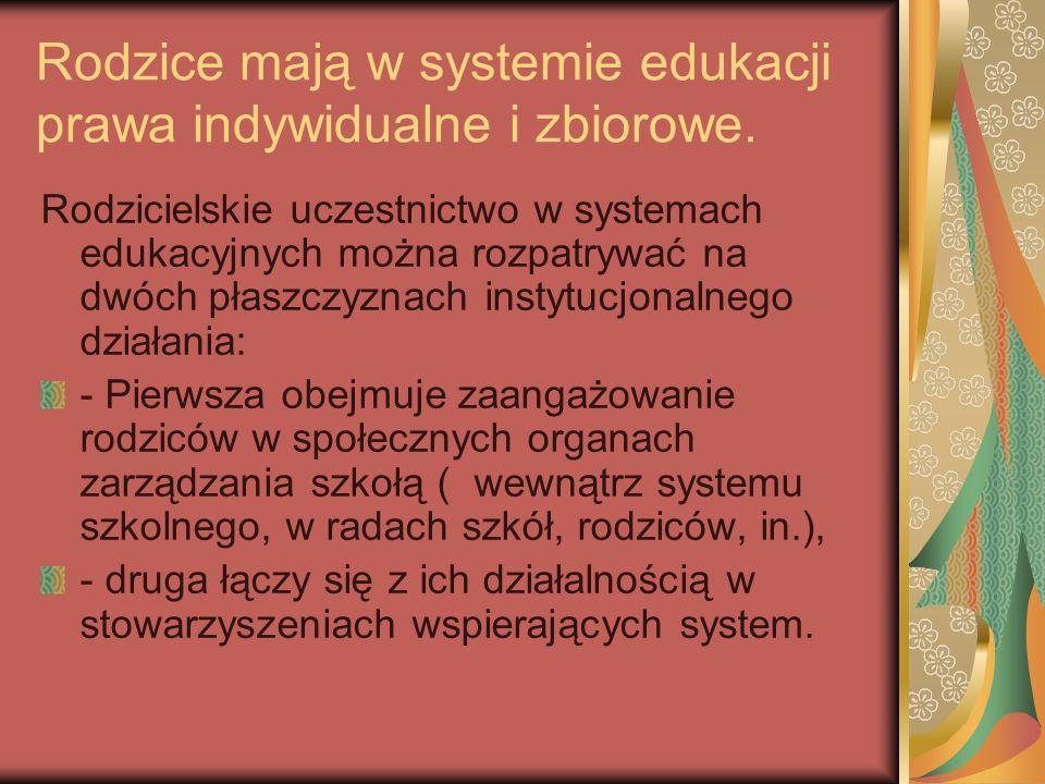 Rodzice mają w systemie edukacji prawa indywidualne i zbiorowe.