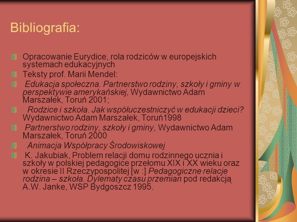 Bibliografia: Opracowanie Eurydice, rola rodziców w europejskich systemach edukacyjnych. Teksty prof. Marii Mendel:
