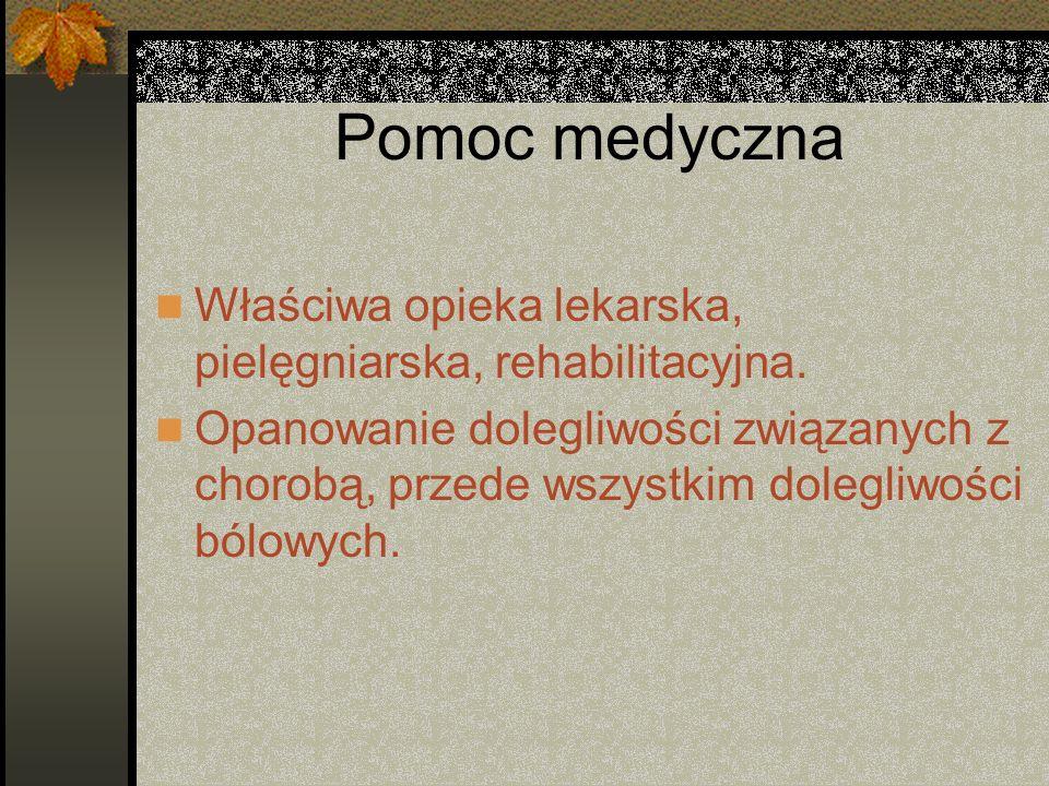 Pomoc medycznaWłaściwa opieka lekarska, pielęgniarska, rehabilitacyjna.