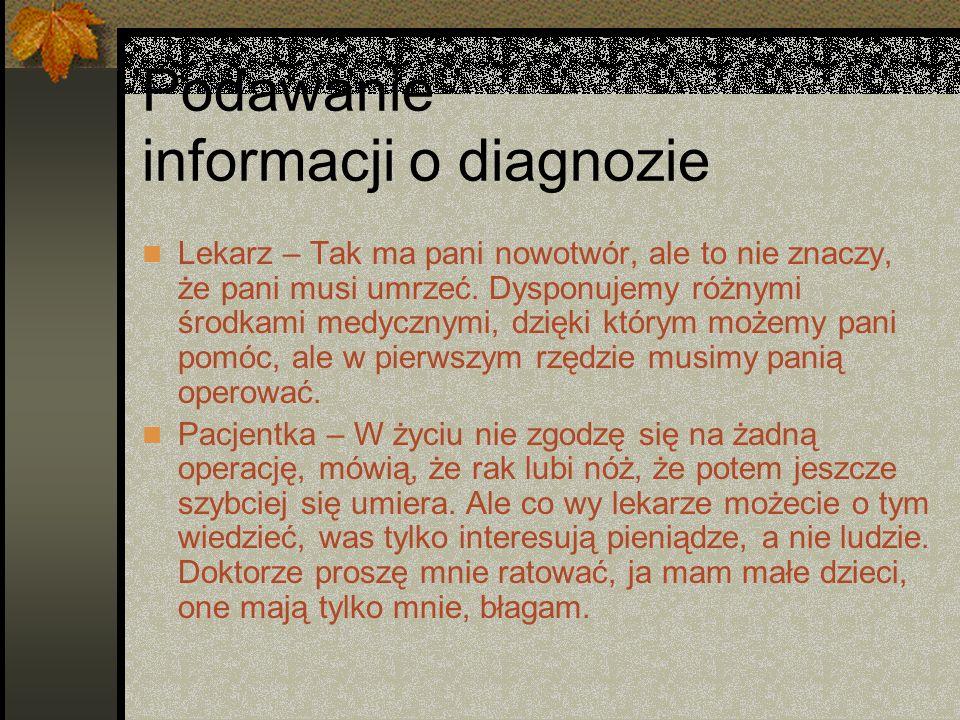 Podawanie informacji o diagnozie