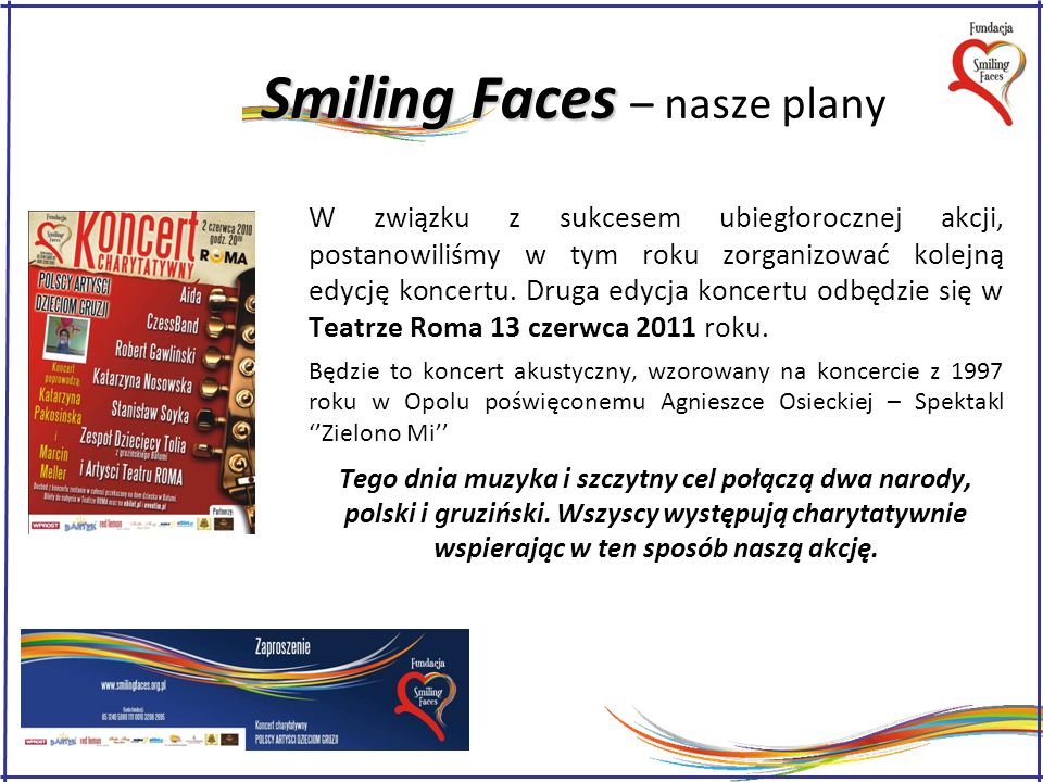 Smiling Faces – nasze plany