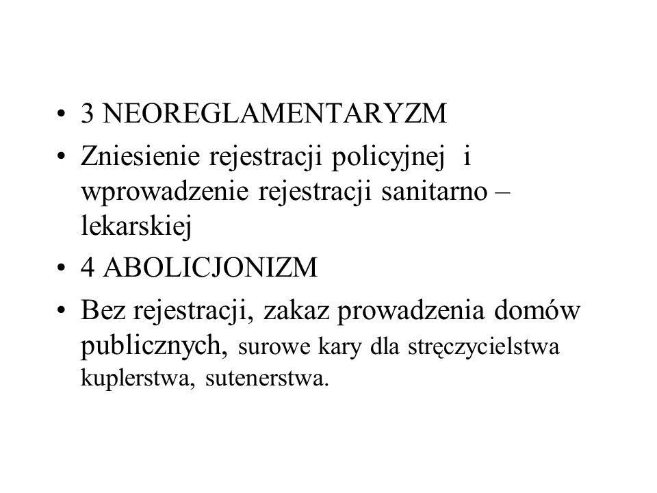 3 NEOREGLAMENTARYZM Zniesienie rejestracji policyjnej i wprowadzenie rejestracji sanitarno – lekarskiej.