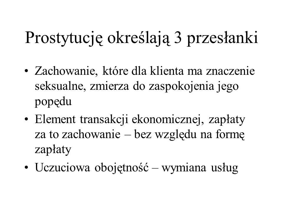 Prostytucję określają 3 przesłanki