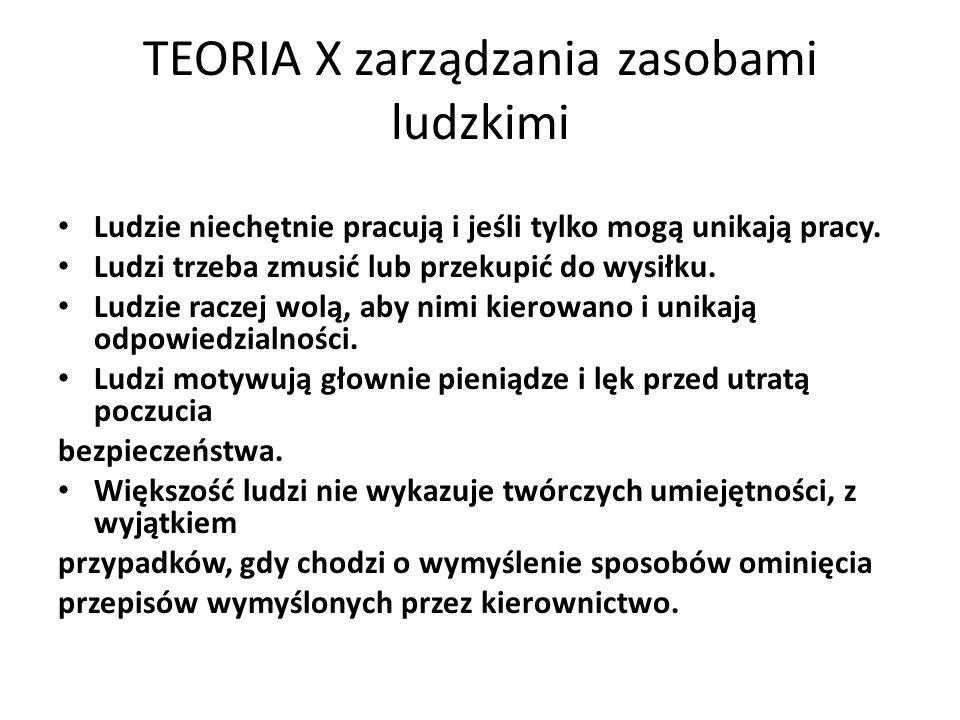 TEORIA X zarządzania zasobami ludzkimi