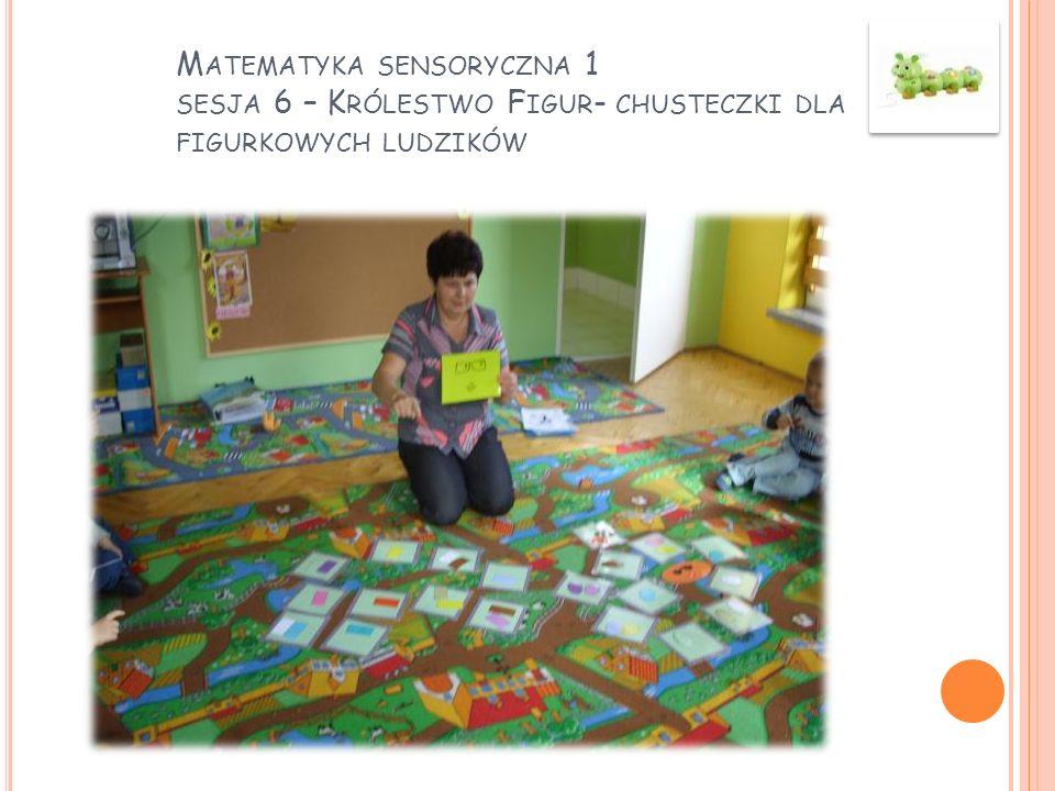 Matematyka sensoryczna 1 sesja 6 – Królestwo Figur- chusteczki dla figurkowych ludzików