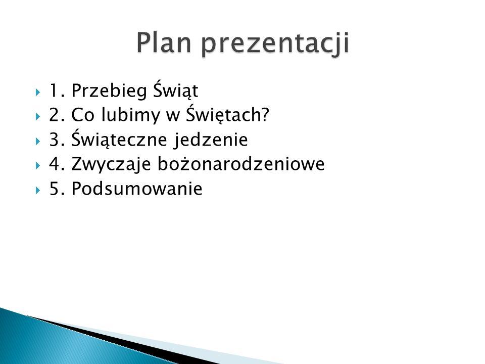 Plan prezentacji 1. Przebieg Świąt 2. Co lubimy w Świętach