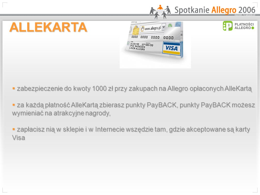 ALLEKARTA zabezpieczenie do kwoty 1000 zł przy zakupach na Allegro opłaconych AlleKartą.