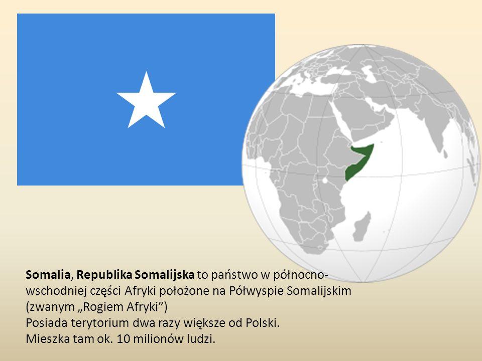 """Somalia, Republika Somalijska to państwo w północno-wschodniej części Afryki położone na Półwyspie Somalijskim (zwanym """"Rogiem Afryki )"""
