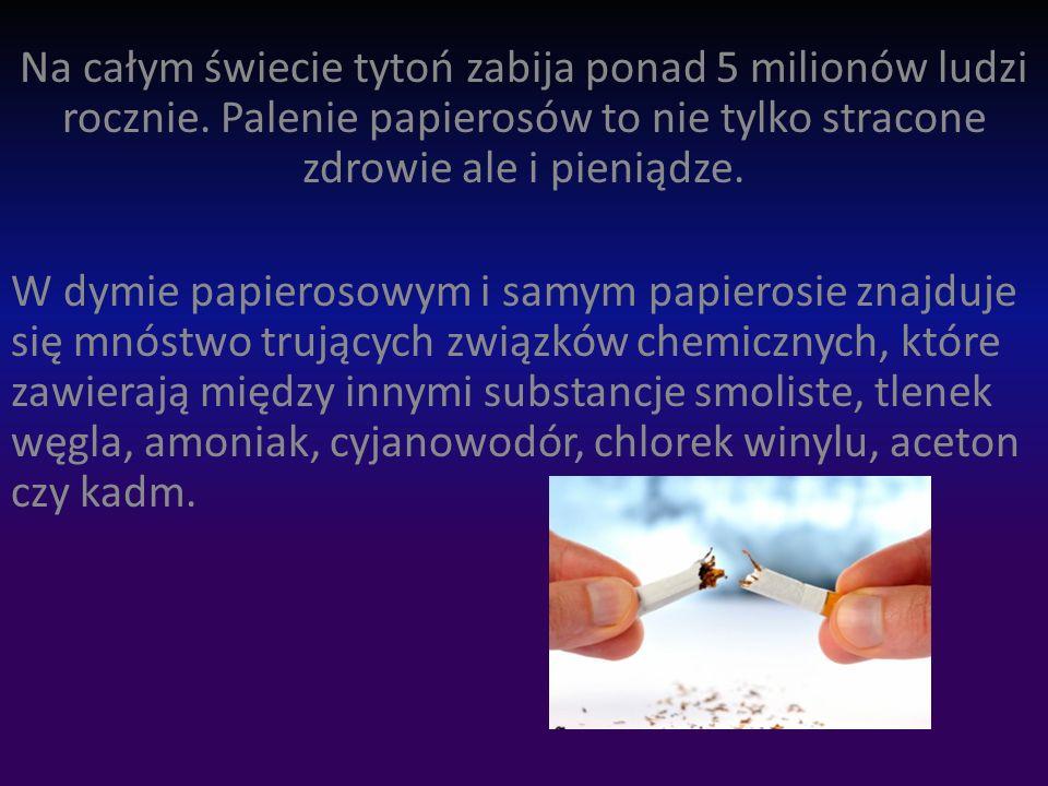 Na całym świecie tytoń zabija ponad 5 milionów ludzi rocznie
