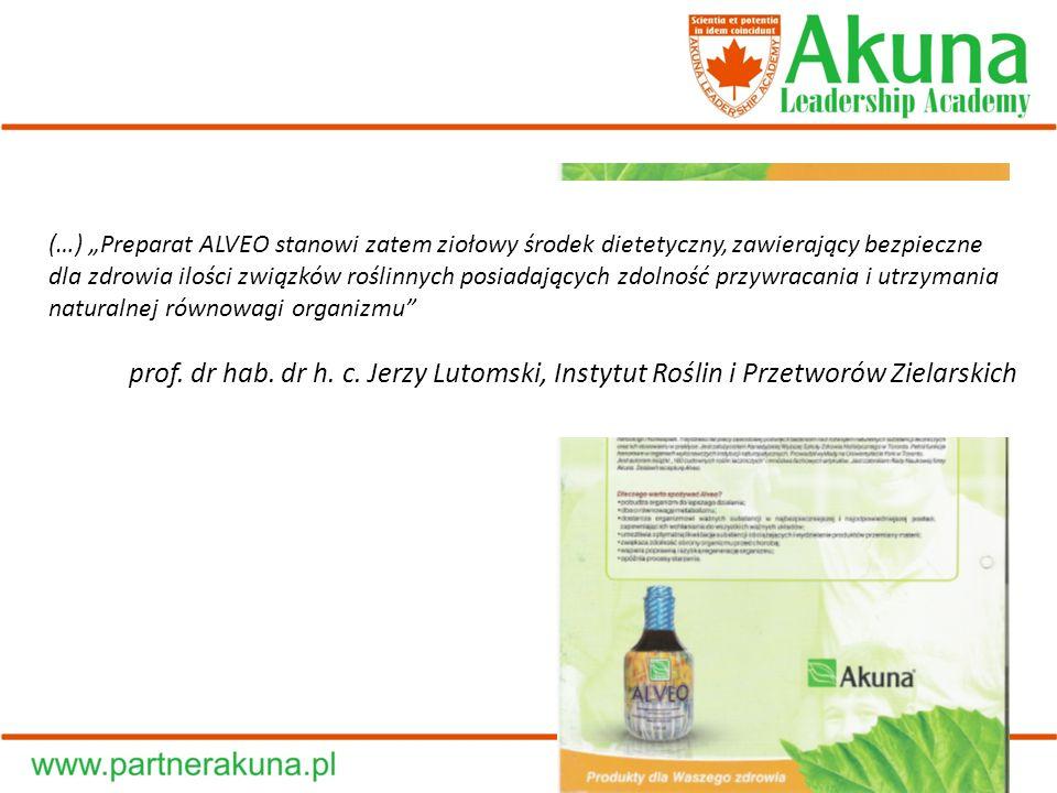 """(…) """"Preparat ALVEO stanowi zatem ziołowy środek dietetyczny, zawierający bezpieczne dla zdrowia ilości związków roślinnych posiadających zdolność przywracania i utrzymania naturalnej równowagi organizmu"""