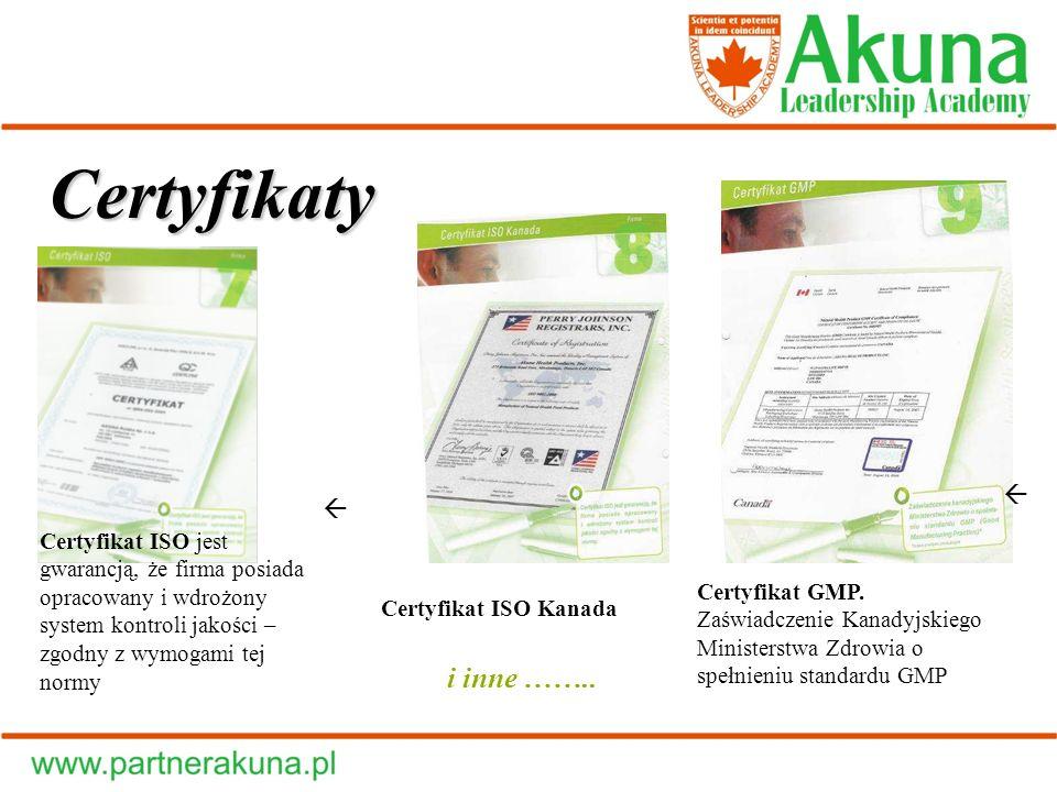 Certyfikaty i inne ……..  