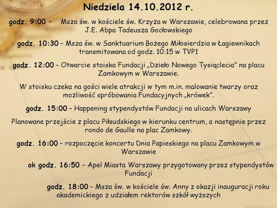 godz. 15:00 – Happening stypendystów Fundacji na ulicach Warszawy