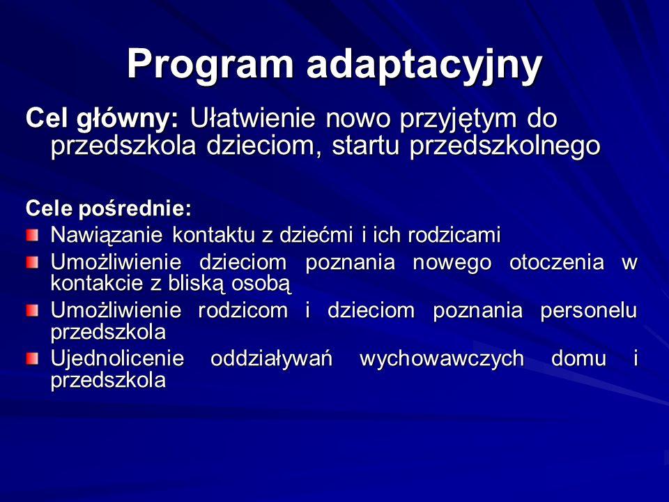 Program adaptacyjny Cel główny: Ułatwienie nowo przyjętym do przedszkola dzieciom, startu przedszkolnego.