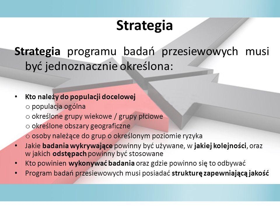 Strategia Strategia programu badań przesiewowych musi być jednoznacznie określona: Kto należy do populacji docelowej.