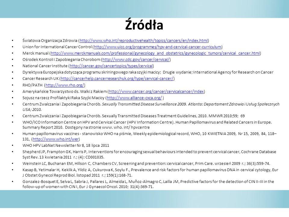 Źródła Światowa Organizacja Zdrowia (http://www.who.int/reproductivehealth/topics/cancers/en/index.html)