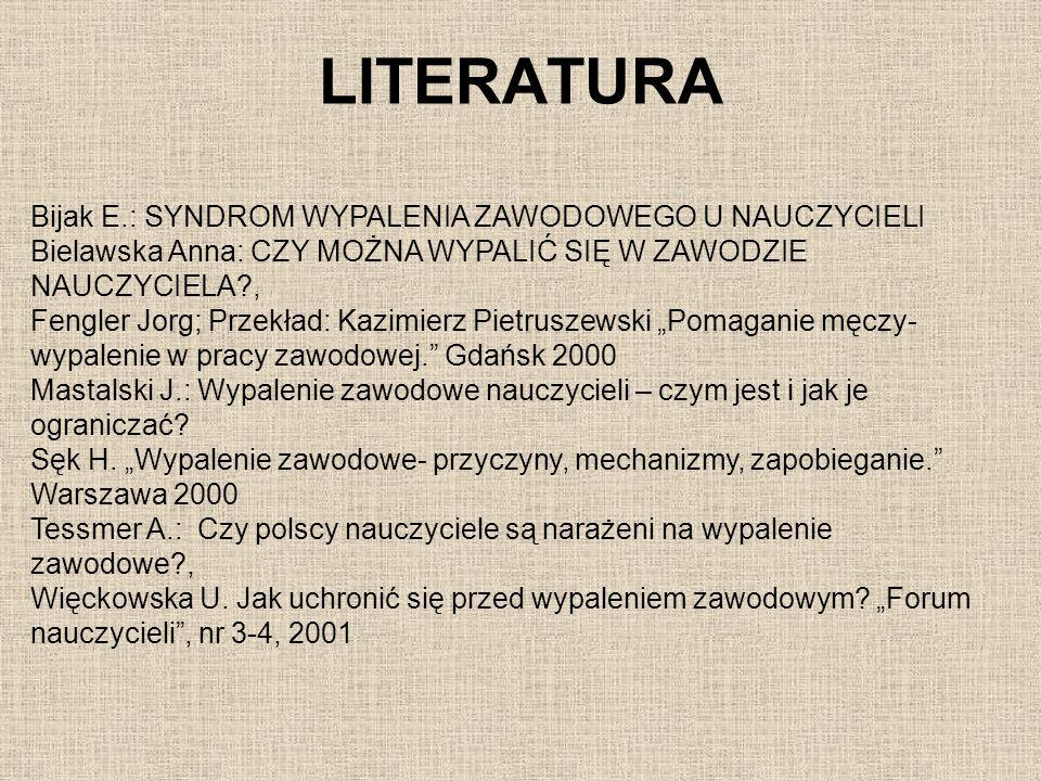 LITERATURA Bijak E.: SYNDROM WYPALENIA ZAWODOWEGO U NAUCZYCIELI