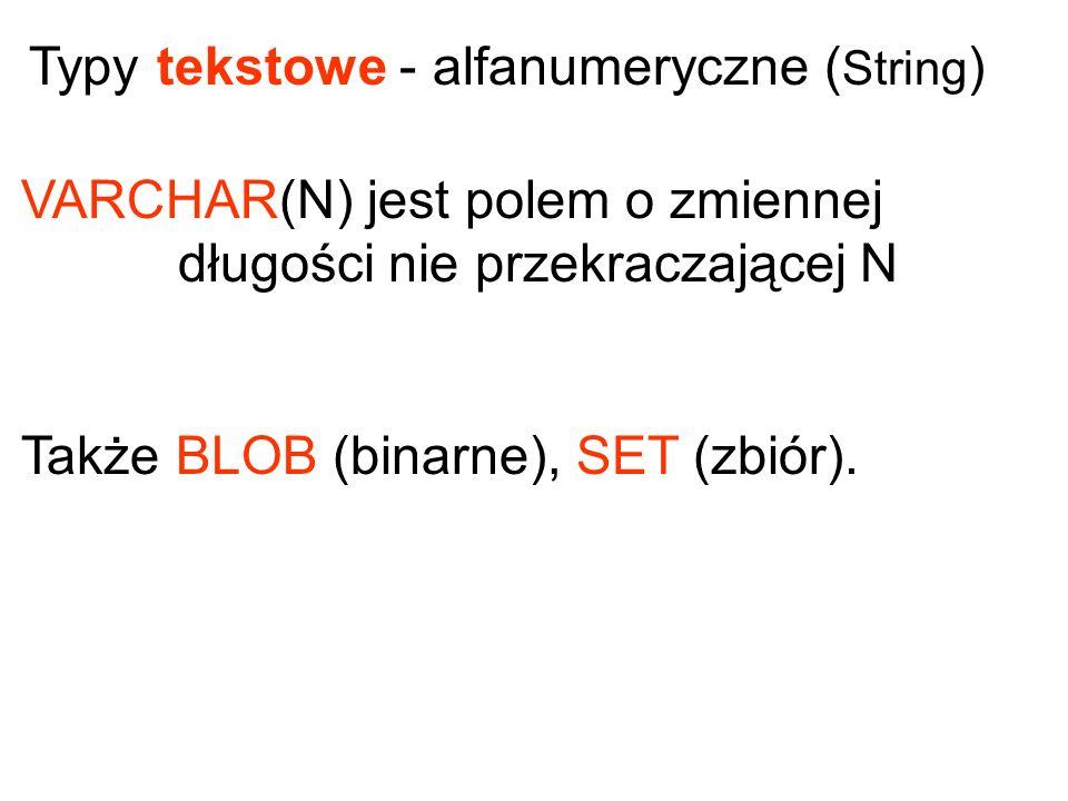 Typy tekstowe - alfanumeryczne (String)
