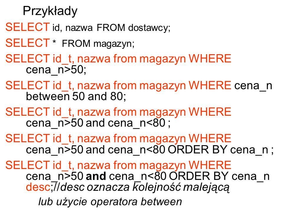 Przykłady SELECT id, nazwa FROM dostawcy; SELECT * FROM magazyn;